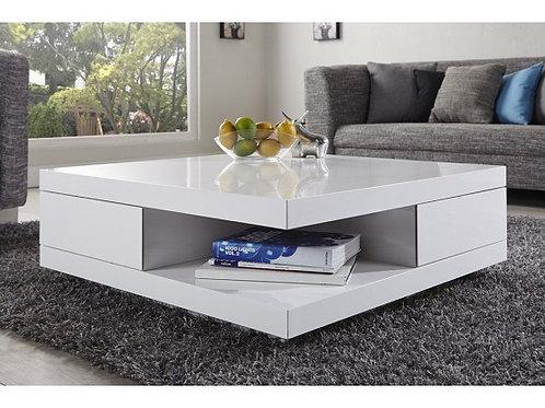 Mesa de Centro Diseño Moderno con 2 cajones  Ref: Kary (90X90X35)