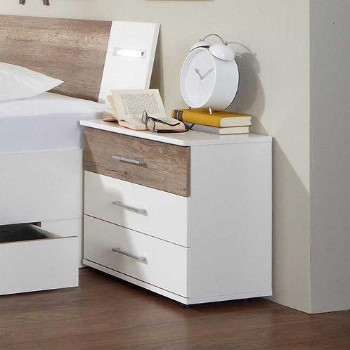Mesa de noche diseño moderno 3 cajones y madera Ref: Berilo (55X40X60)