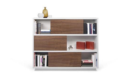 Biblioteca Diseño Moderno Blanco y Madera palisandro Ref: Polo 150x40x120