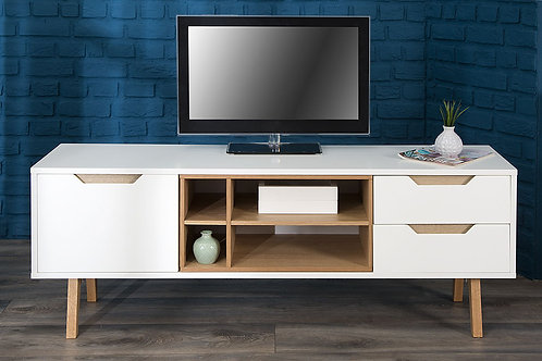Mesa De Television Diseño Moderna Blanco y Roble  Ref: Loto (150x60x40))