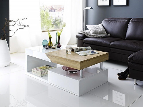 Mesas De Centro Diseño Ultra Moderno Blanco y Roble  Ref: Amarin (110X55X40)