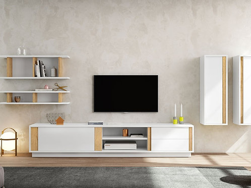 Mesa De Televisión diseño contemporaneo Blanco y Roble Ref: Cetus (200x45x40)