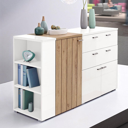 Aparador Moderno Blanco y Madera Ref: Otto (150x42x80)