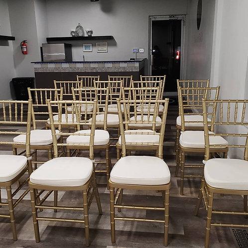 Gold Chiavari Chairs w/cushions