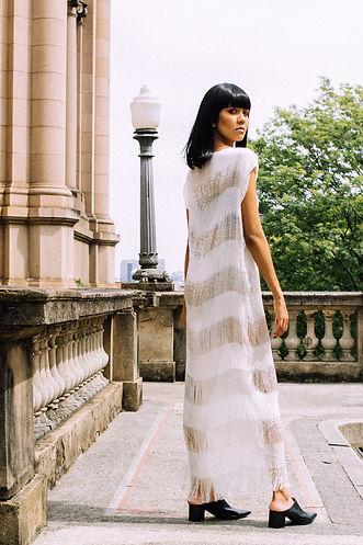 Vestido Coluna de seda vazado