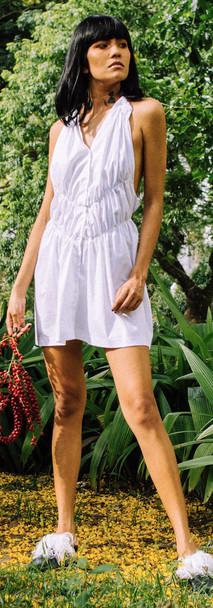 Vestido lisi de tricoline franzido zerow