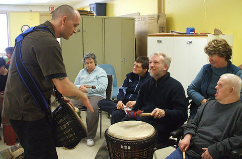 Drum circle interaction and communication.