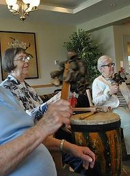 Seniors drum circle