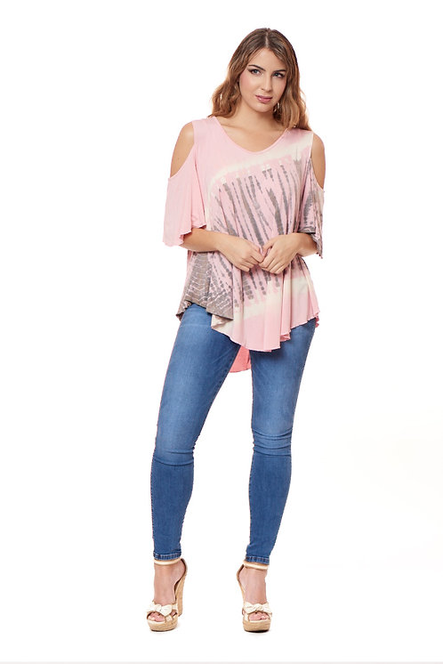 REVISION PINK COLD SHOULDER TUNIC