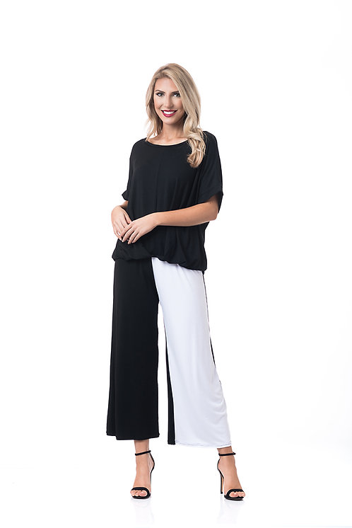CONTRAST VERTICLE MID-LENGTH PANT