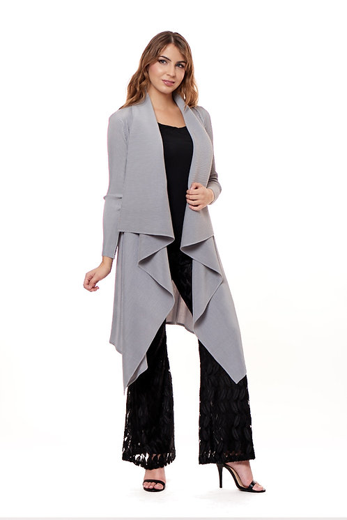 PLEATED LONG SLEEVE RUFFLE DUSTER