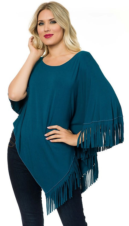 SOLID SIDE FRINGE V-POINT TUNIC