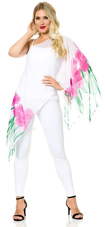 Floral Sleeved Chiffon 7-way Scarf