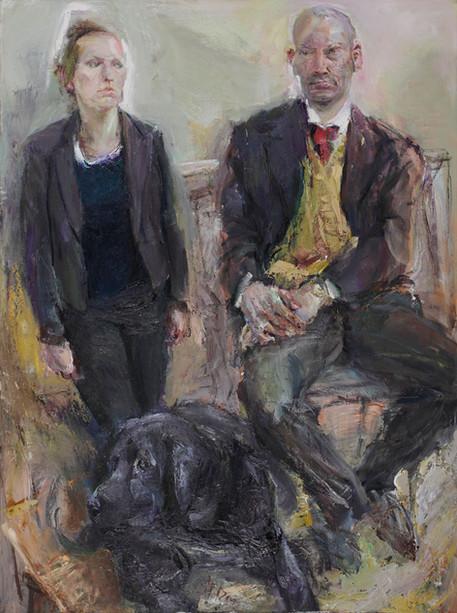 Künstlerpaar mit Hund