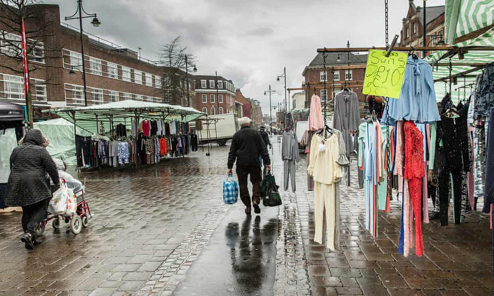 Romford market. In terms of amount borrowed by capita, Croydon, south London, was the biggest at £29.15. Photograph: David Levene/The Guardian