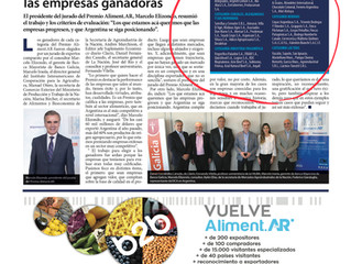AlimentAR Award: Distinguished the work of companies that export food and beverages