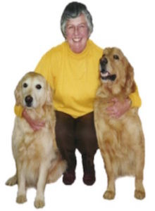 The late Jane Peck and her beloved Golden Retrievers.
