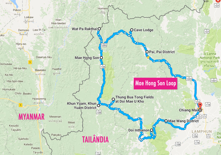 mapa roteiro mae hong son loop