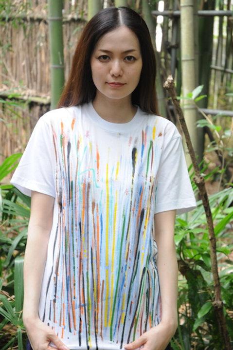 マルチカラーライン+刺繍入りーOnly one Kikuko draw t-shirt