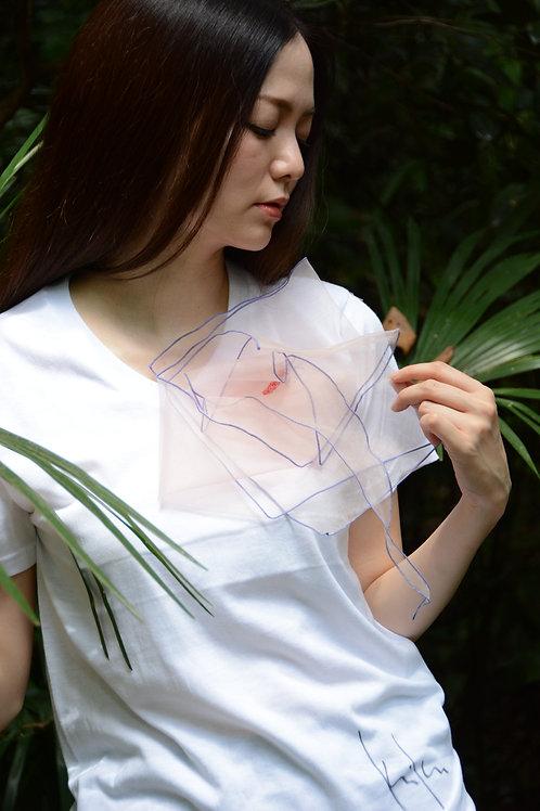 ラッフルアップリケ-桜  Kikuko  Only one  T-shirt