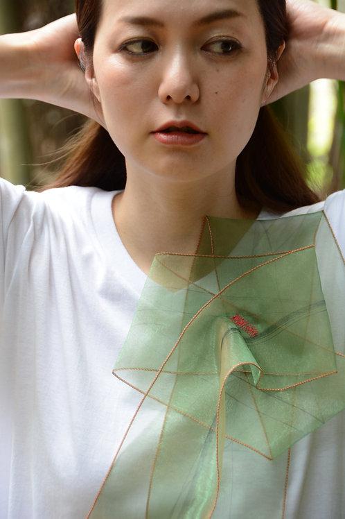 ラッフルアップリケ-煌く抹茶  Kikuko  Only one  T-shirt