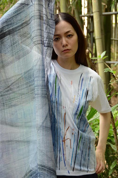 ブルーライン門に刺繍入り Only one Kikuko create t-shirt