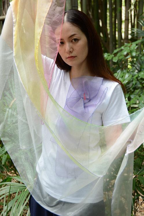 ラッフルアップリケ-ラベンダー Kikuko  Only one  T-shirt