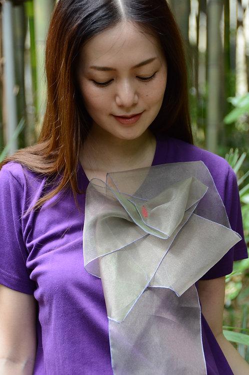 ラッフルアップリケ-紫に玉虫  Kikuko  Only one  T-shirt