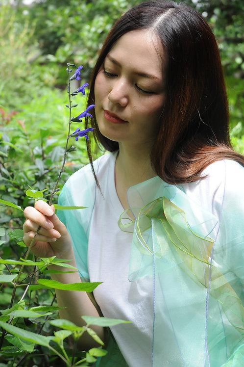 ラッフルアップリケ-Wグリーン Kikuko  Only one  T-shirt