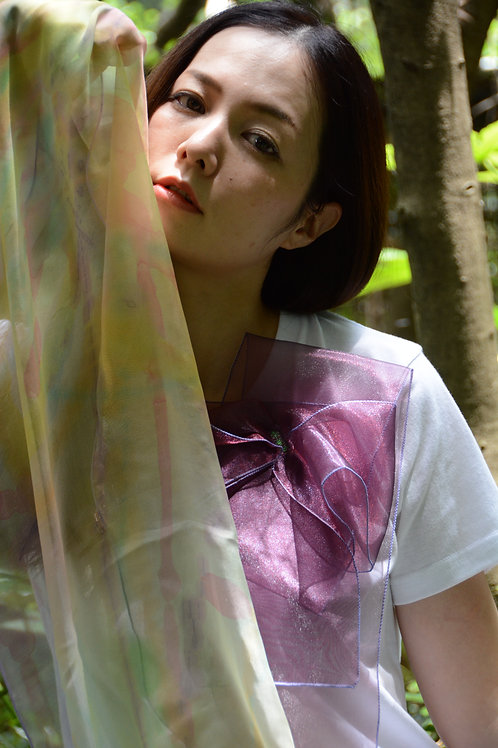 ラッフルアップリケ-ワイン  Kikuko  Only one  T-shirt