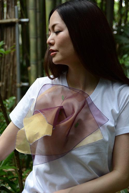 ラッフルアップリケ-2枚重ねワイン Kikuko  Only one  T-shirt