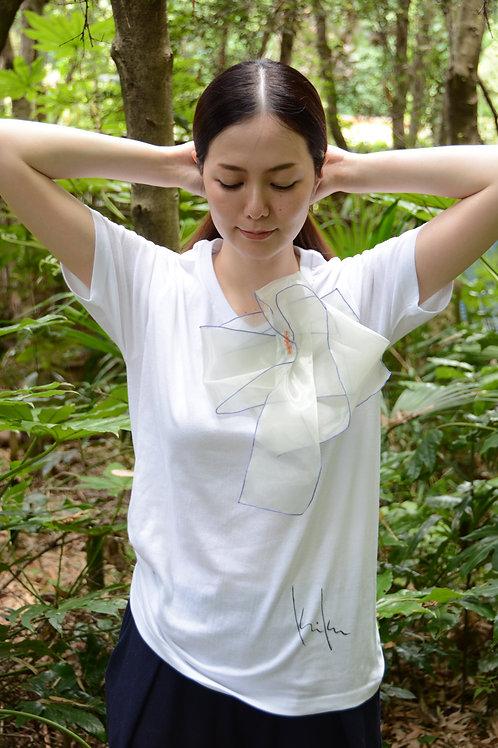 ラッフルアップリケ-白銀  Kikuko  Only one  T-shirt