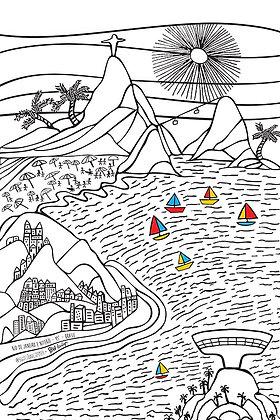 Rio de Janeiro / Cor 2 ( com Niterói - Museu MAC e barquinhos coloridos )