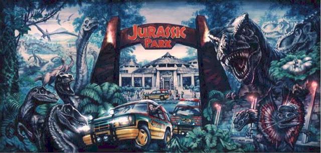 "Pintura que se muestra el ideal de Hammond al construir Jurassic Park, mostrada en ""The Lost World of Jurassic Park""."