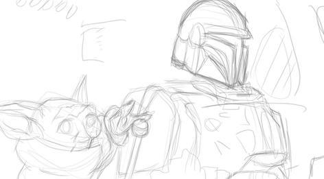 The Mandalorian Sketch 1 of 3