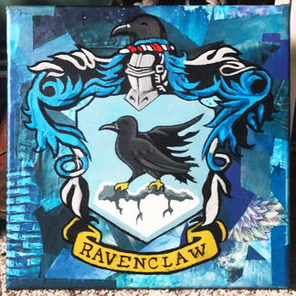 Ravenclaw Collage on Canvas with Acrylic