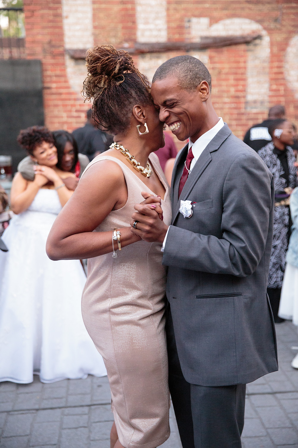 The mother of the groom shares a dance with her son during the wedding reception at the Gallery O on H in Washington DC.