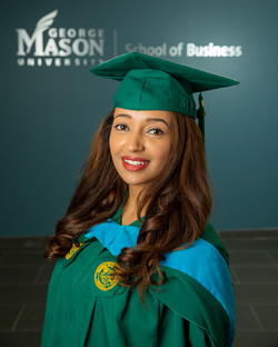 College graduation photography at George Mason University School of Business in Arlington, Virginia.