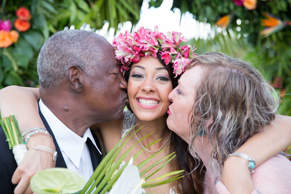 The parents of the bride show their love after the destination wedding in Punta Cana