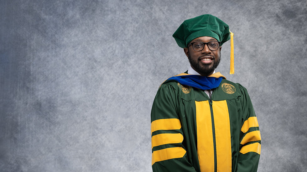 Doctorial Graduation Portrait in Alexandria, Virginia.