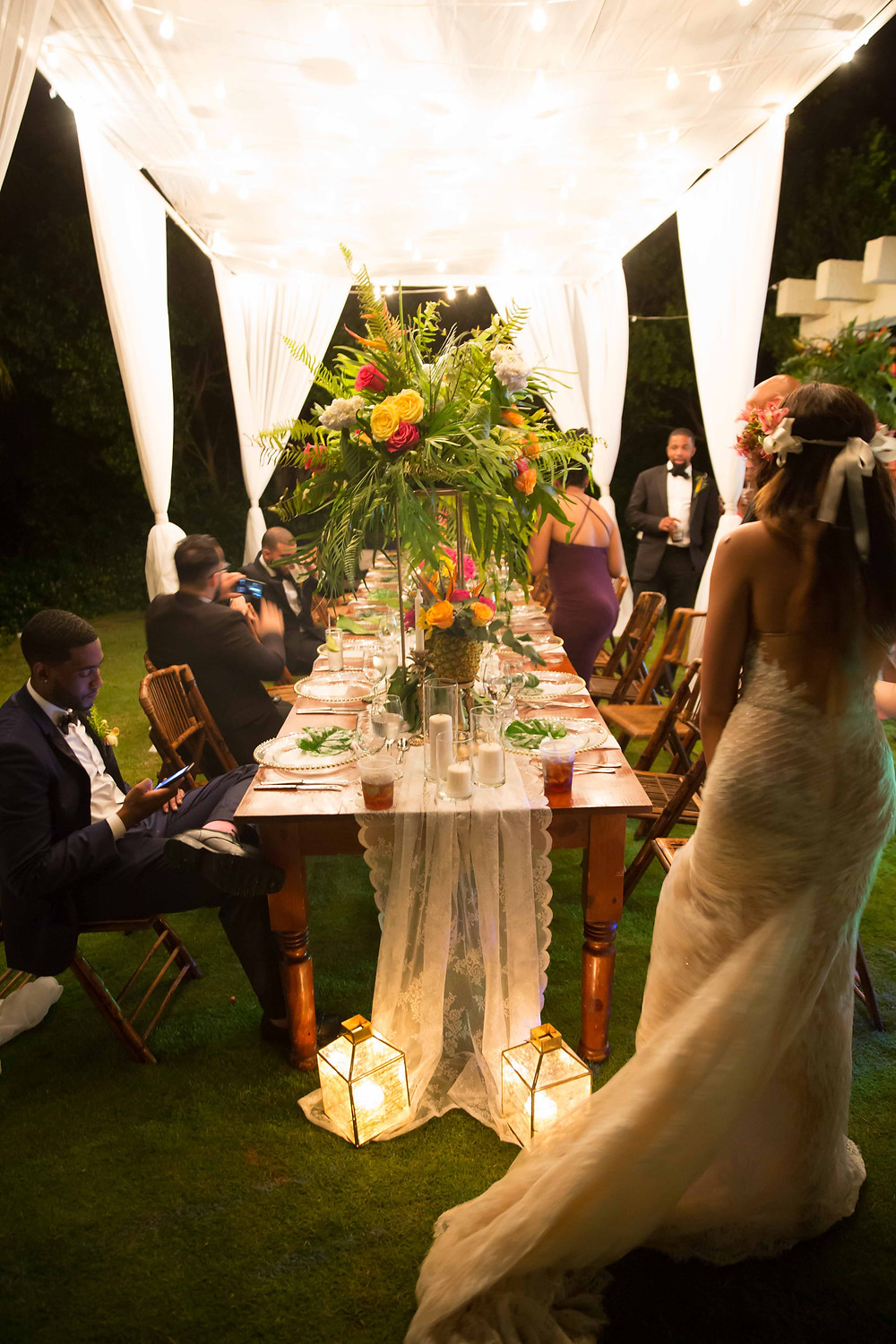 The dinner table at the destination wedding reception in Punta Cana, Dominican Republic.