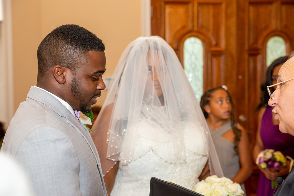 Jordyn and John during the wedding ceremony in Fairfax, Virginia.