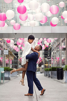 Couple during a birthday photography session at City Center in Washington DC.