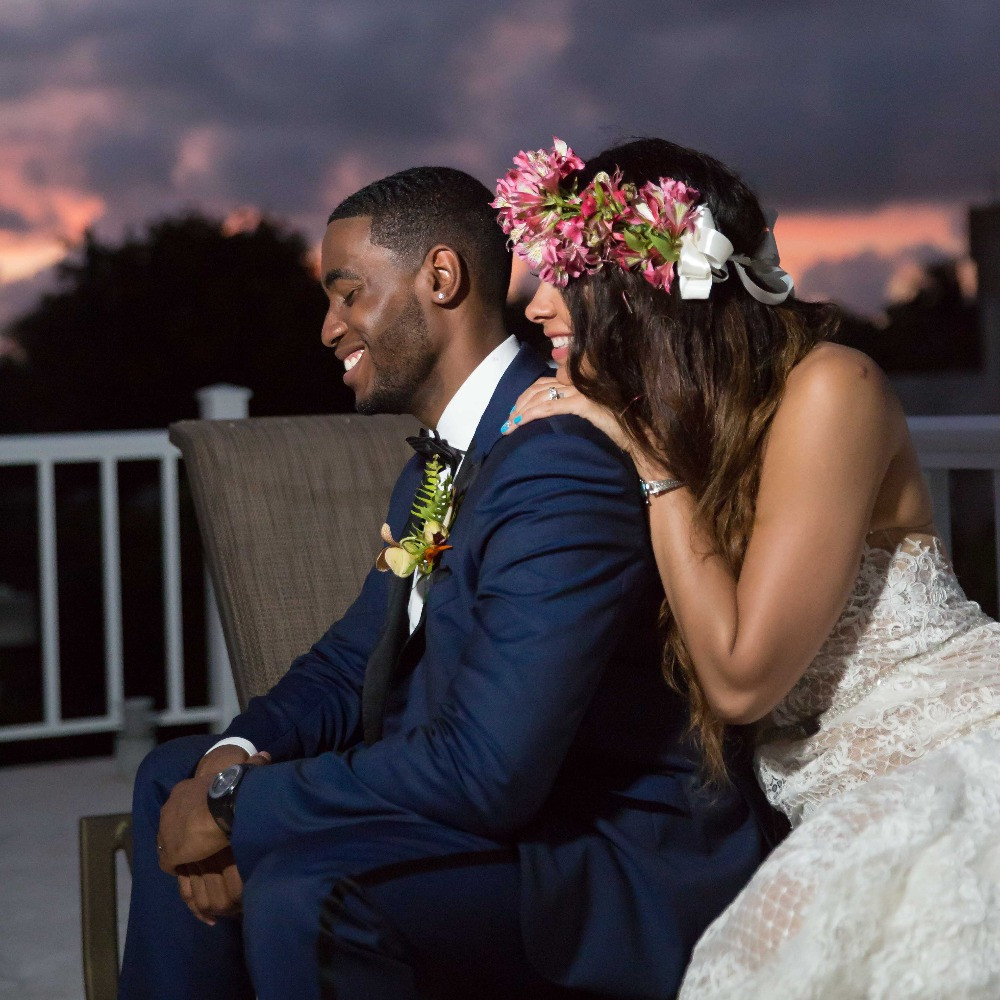 James and Briana share a laugh after their destination wedding in Punta Cana, Dominican Republic.