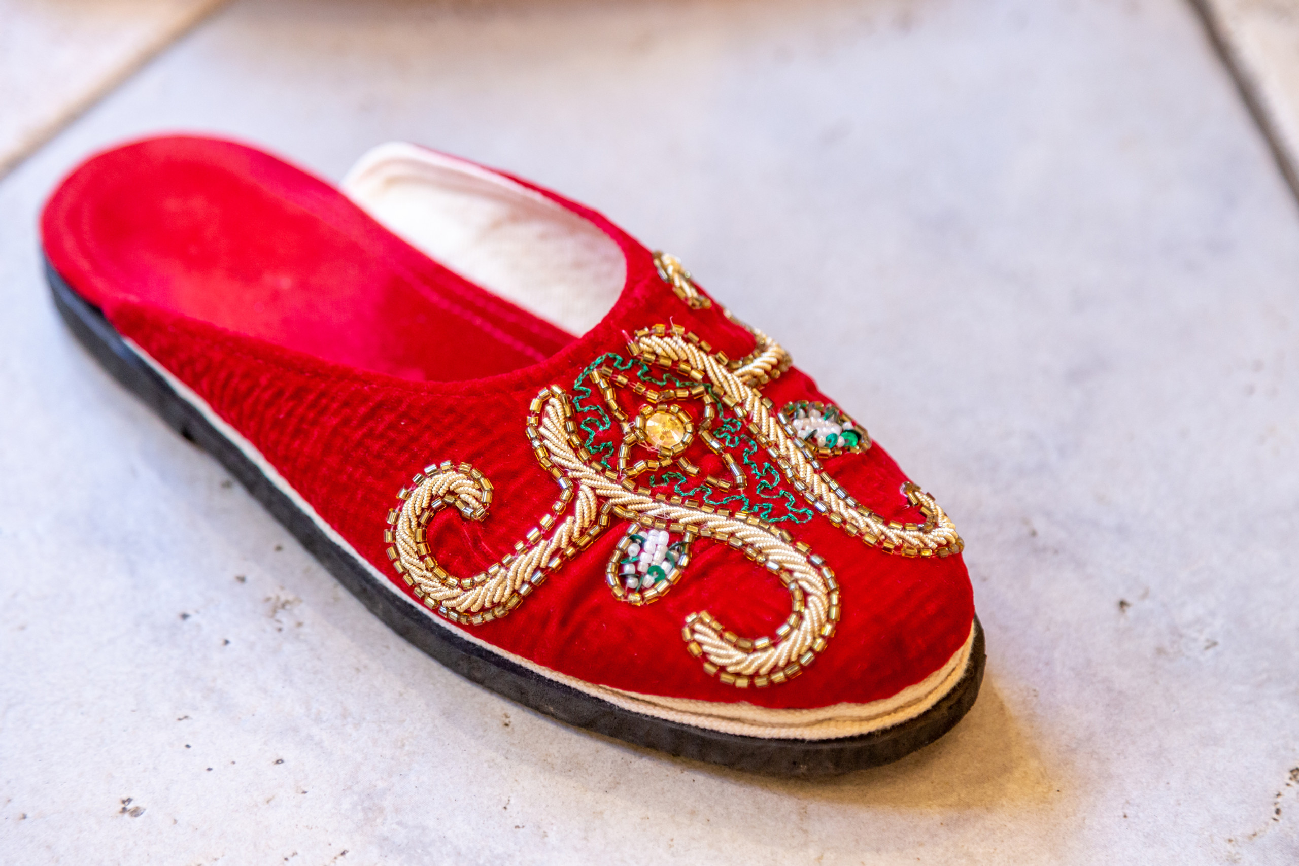The bride's custom-made Nepali slipper at the Hindu Ceremony at the ISKCON of DC in Potomac, Maryland.