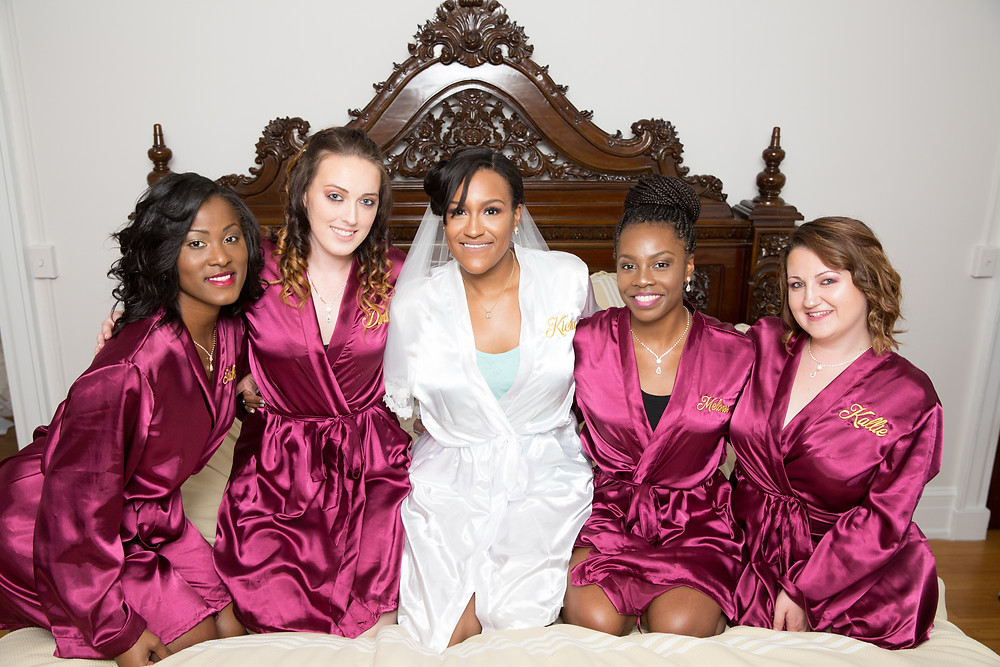 Kiera and her bridesmaids getting ready for the Fludd wedding at the Inn at Vint Hill in Warrenton, VA.