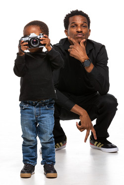 Father and son during a studio portrait session at Union 206 in Alexandria, Virginia