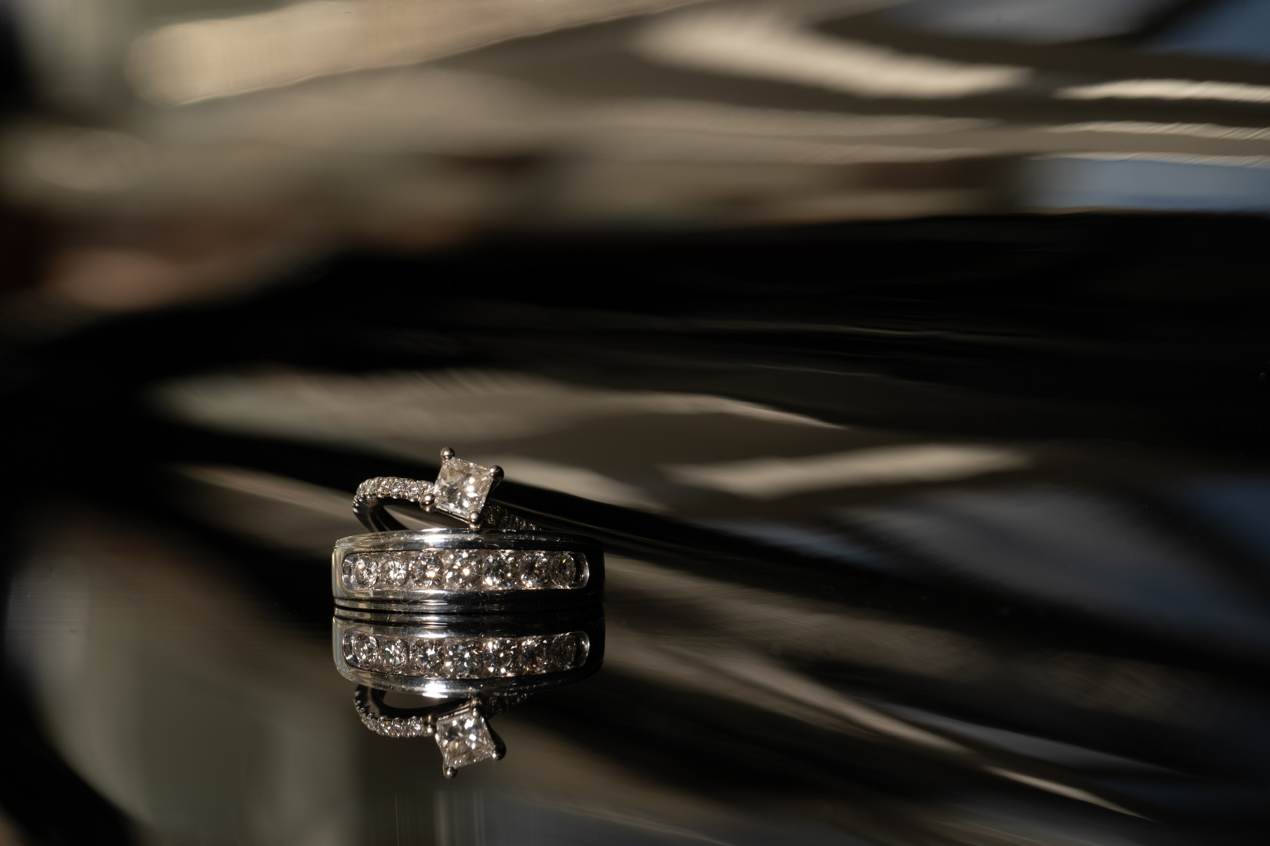 Bride and groom's gorgeous wedding bands before the wedding ceremony at the Hilton Main in Norfolk, Virginia.