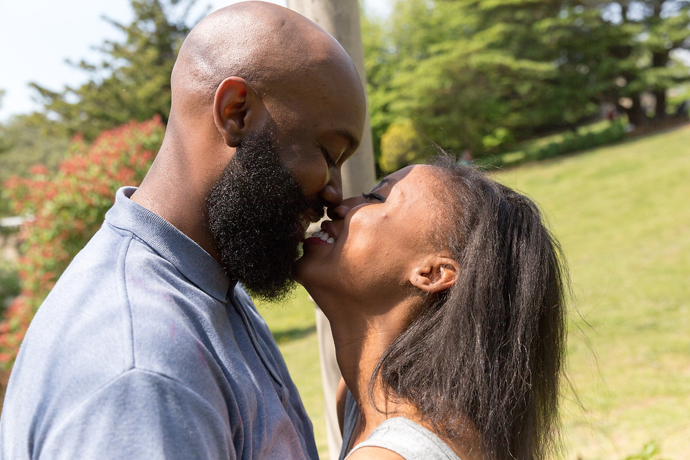 Tyrell and Esa after the proposal in Maymount Park in Richmond, VA.