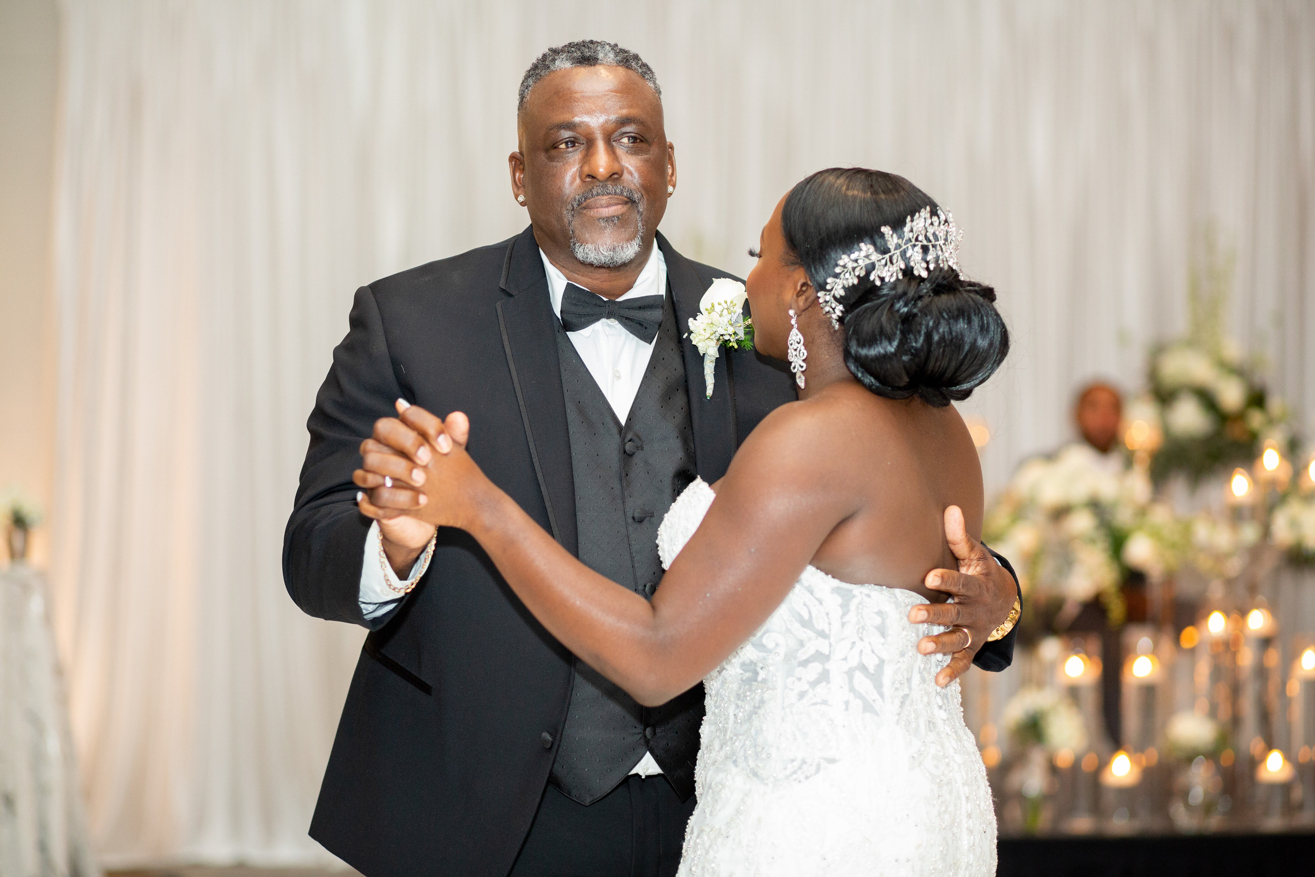The father daughter dance during the wedding reception at the Hilton Main in Norfolk, Virginia.